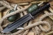 Нож фирмы Kizlyar Supreme  Survivalist Z AUS-8 Black Titanium Serrated