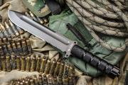 Нож фирмы Kizlyar Supreme  Survivalist Z AUS-8 Gray Titanium Serrated